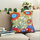 Sunflower Town VELVET PILLOW COVER Abstract Prim FOLK ART Various Sizes KARLA G