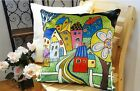 Road To Town VELVET PILLOW COVER FOLK ART Primitive Various Sizes Karla Gerard