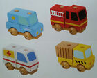 WOODEN STACKING UP CARS POLICE AMBULANCE FIRE ENGINE WORK TRUCK BRAND NEW