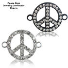 Peace Sign Paved Symbol Crystal Cooper Bracelet connector Charm Plated 8pcs