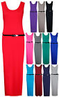 Womens Plain Sleeveless Ladies Belted Stretch Long Full Jersey Vest Maxi Dress