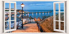 3D Window Effect on Canvas Whitby Seaside Evening Picture English Wall Art Print