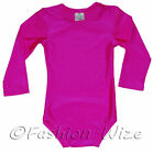 Girls Leotard Stretchy Dance Gymnastics Sports Uniform Sleeved Top Pink Age 2 3