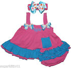 CLEARANCED PRICED Baby Girl Hot Pink & Aqua Swing Top, Bloomers