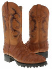Mens Cognac Crocodile Alligator Tail Leather Biker Motorcycle Boots Round toe