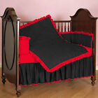 Solid Pattern Baby Cradle Reversible Ruffle Bumper