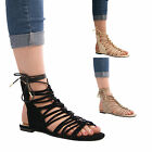 LADIES WOMENS CASUAL FORMAL SUMMER LACE UP SANDALS FASHION HOLIDAY STYLE SHOES