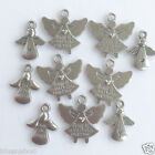 10 Angel Charms silver coloured, 2 styles per 10 charms  16 - 19mm