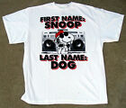 "Peanuts White Tee Shirt ""First Name Snoopy Last Name Dog"" Men's Sizes Brand New"