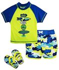 Wippette Little Boys Camo with Shark Rash Guard Swim Short Set with Flip Flops