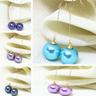 Candy color 14mm round faux shell pearl long dangle earring newly jewelry B1793