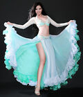 XL/Bra D Cup Belly Dance Costume Set Bra Top Belt Skirt Dress Carnival Bollywood