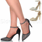 WOMENS LADIES HIGH HEEL EMBELLISHED DIAMANTE PARTY EVENING POINTED TOE SHOE SIZE