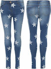 Womens Star Print Jeans Ladies Low Rise Skinny Fit Zip Button Pocket Stretch