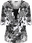 Womens Plus Abstract Top Ladies Monochrome Print Cowl Neck 3/4 Sleeve Insert