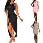 Sexy Ladies Women Party Maix Cocktail Sleeveless Knotted Slit Bodycon Long Dress