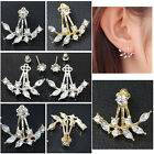 Crystal Ear Cuff Clip Leaf Double Stud Earring For Women Jacket Piercing Earring
