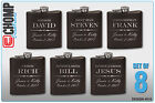 8 Personalized Engraved Flasks, Groomsman Gifts, Wedding Bridesmaid Party