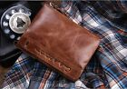Men Wallet Genuine Crazy Horse cowhide Leather Short Coin Small Vintage