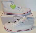 New Men's White High Top Boots Canvas Trainers Shoes Sizes UK 11 & 12
