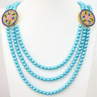 6mm mix-color shell pearl round beads 3rows unique flower beads neckalce B1189