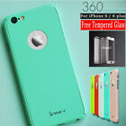 2in1 iPaky 360° Fresh Color Case + Tempered Glass Cover For iPhone 6 6S Plus