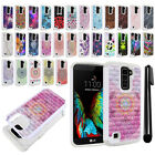 For LG K10 Premier LTE L62VL K428 Studded Bling HYBRID Case Phone Cover + Pen
