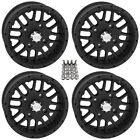 "QuadBoss SCOVILLE ATV Wheels/Rims Black 14"" (5+2) Yamaha Grizzly Rhino (4)"