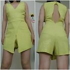women's jumpsuit romper yellow lime short mini skirt S M L made in USA