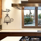 Opened Birdcage with Bird Vinyl Wall Decal for nursery, kitchen + more K632
