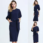 Elagant Womens3/4 Sleeves Formal Business Work Party Pencil Chiffon Midi Dress