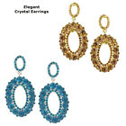Fashionable Crystal Round Hoop Stud Bridal Chandelier Cocktail Earrings Plated
