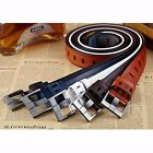 Fashion Men's Casual Drill-free Cowhide Leather Belt Pin Buckle Waistband #JP