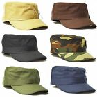 New Summer 100% Cotton Army Military Cadet Visor Fitted Cap Hat XS,S,M,L,XL,XXL