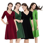 Women's Vintage Formal Cocktail Evening Party Long Sleeve Plain Swing Dress