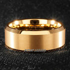 8mm Real Tungsten carbide Ring 18k Gold brushed center wedding band mens TR8