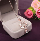Fashion Double Chain Necklace Heart Pendant Women Jewelry Gold /Silver Plated