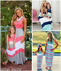 Summer Family Clothes Mother Daughter Dresses Mom Girls Striped Vest Maxi Dress