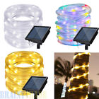 42Ft 100 LED Outdoor Waterproof Solar AC Powered Rope Tube Fairy String Lights