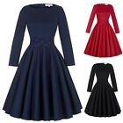 WOMENS Vintage Dress 50's Long Sleeve Cocktail Evening Party Swing Dress Prom