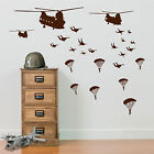 Military Parachute Soldiers Planes Helicopters Army Men Wall Stickers Decal A5