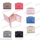 BLUE BLACK PINK BROZE GREY Faux Leather Bi-Fold Bow Purse Wallet #A805