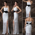 New White Lace Wedding Dress Formal Sleeveless Long Bridal Gown Evening Party