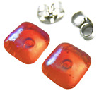 "Earrings Flame Orange Iridescent Metallic Teal Rainbow Look Post 1/4"" 8mm STUDS"