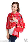 Red Scarf Wrap Scarves Pashmina Shawls New Style Women's Fancy Floral Cashmere