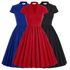 New Women V-Neck Retro Vintage 50s Swing PINUP Cotton Party Prom Dress PLUS SIZE
