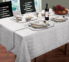 NEW HAMPTON JACQUARD SILVER TABLEWARE - TABLECLOTHS NAPKINS RUNNERS PLACEMATS