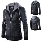 Stylish Slim Fit Hooded Men's Black Motorcycle PU Leather Jacket Coat Outwear