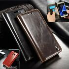 DESIGNER GENUINE LEATHER RETRO WALLET STAND CARD CASE FOR SAMSUNG GALAXY MODELS