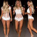 Women Strappy V Neck Lace Bodysuit Backless Bodycon Stretch Top Playsuit Beach